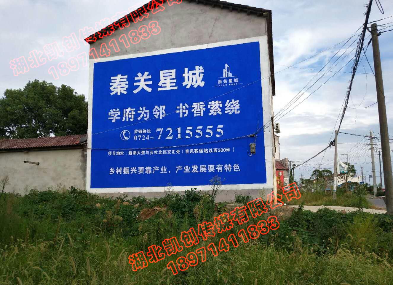京山秦关星城房地产墙体广告制作
